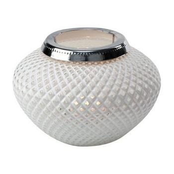 Large White Weave Daylight Glass Candle Lantern Candle Holder