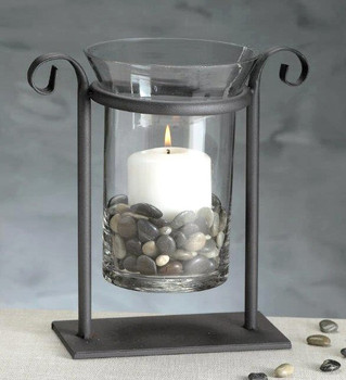 Sofia Rustic Metal Hurricane Candle Holder