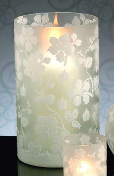 White Blossoms Glass Hurricane Candle Holder