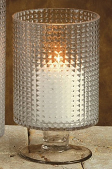 "8"" Diamond Glass Hurricane Candle Holder"