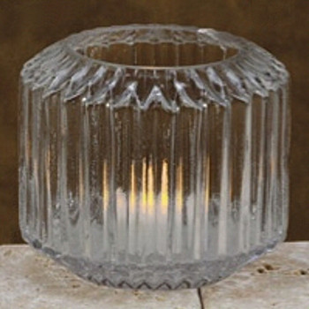 "4"" Diamond Glass Fluted Hurricane Candle Holders, Set of 2"