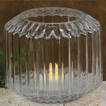 "5"" Diamond Glass Fluted Hurricane Candle Holders, Set of 2"