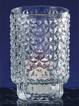 Diamond Cut Glass Mini Hurricane Candle Holders, Set of 6