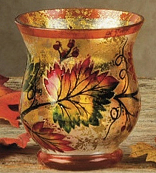 "3.5"" Fall Scene Hand Painted Glass Hurricane Candle Holders, Set of 6"