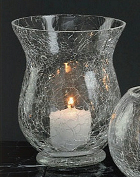 "4.75"" Crackle Glass Hurricane Candle Holders, Set of 6"