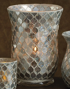 Icicle Mosaic Glass Hurricane Candle Holders, Set of 6