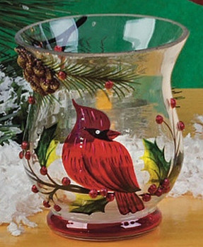 "3.5"" Cardinal Bird Scene Hand Painted Glass Hurricanes, Set of 6"