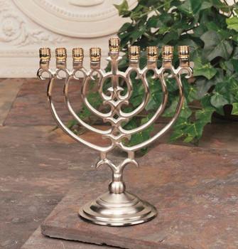 Nickel Brass Metal Menorah Candle Holder