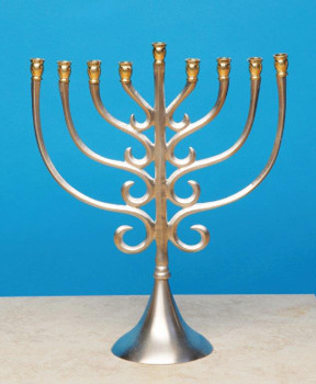 Nickel Brass Traditional Metal Menorah Candle Holder
