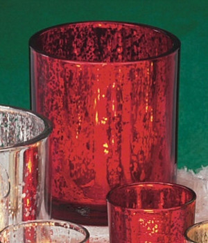 Rustic Red Glass Pillar Candle Holders, Set of 4
