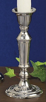 "5.5"" Shiny Nickel Taper Candle Holders, Set of 2"