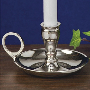 Shiny Nickel Chamberstick Taper Candle Holders, Set of 6