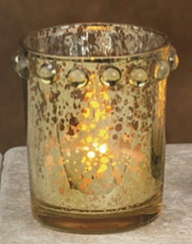 "2.5"" Gold Glass Tea Light Candle Holders, Set of 8"
