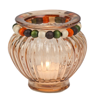 Amber Glass Tea Light Candle Holders, Set of 4