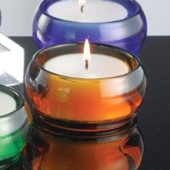 Amber Glass Tea Light Candle Holders, Set of 6