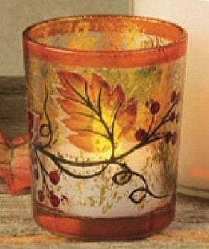 Fall Scene Hand Painted Glass Tea Light Candle Holders, Set of 6