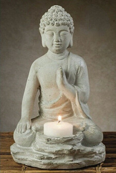 Buddha Cement Tea Light Candle Holders, Set of 2