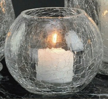 Round Crackle Glass Tea Light Candle Holders, Set of 6