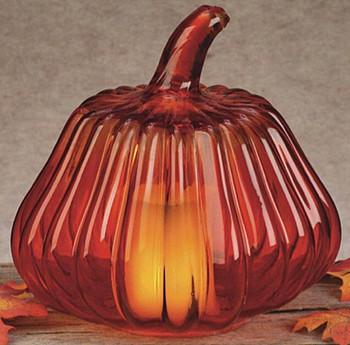 Autumn Pumpkin Glass Tea Light Candle Holders, Set of 3