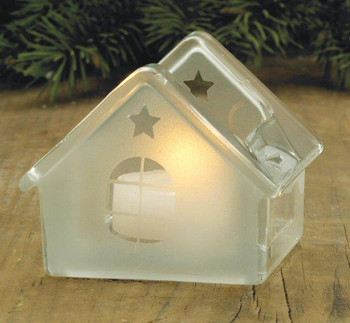 House with Star Glass Tea Light Candle Holders, Set of 6