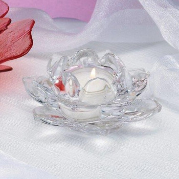 Lotus Glass Tea Light Candle Holders, Set of 4
