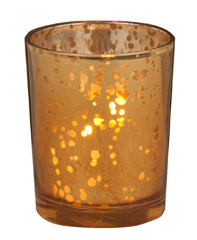 Rustic Amber Glass Votive Candle Holders, Set of 12