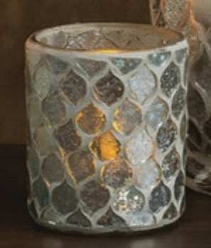 Icicle Mosaic Glass Votive Candle Holders, Set of 6