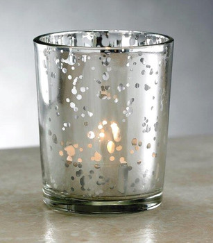Silver Rustic Glass Votive Candle Holders, Set of 12