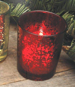 Rustic Red Glass Votive Candle Holders, Set of 12