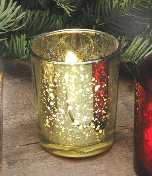 Rustic Gold Glass Votive Candle Holders, Set of 12
