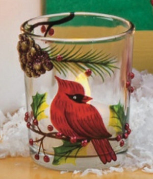 Cardinal Bird Scene Hand Painted Glass Votive Candle Holders, Set of 6