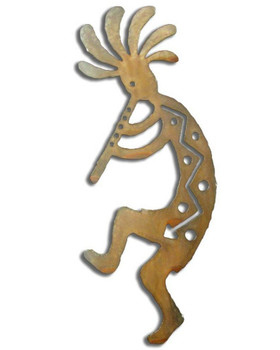 Left Facing Kokopelli Flute Player Rust Metal Wall Art
