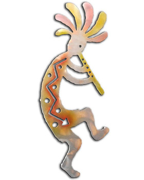 Right Facing Kokopelli Flute Player Sunset Swirl Metal Wall Art