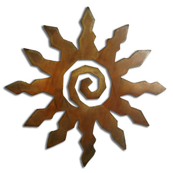 12 Point Sunburst Rust Metal Wall Art
