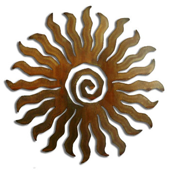 24 Point Sunburst Rust Metal Wall Art