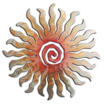24 Point Sunburst Sunset Swirl Metal Wall Art
