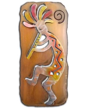 Left Facing Cut Out Kokopelli Flute Player Sunset Swirl Metal Wall Art