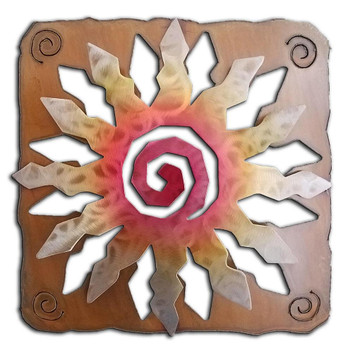 12 Point Cut Out Sunburst Sunset Swirl Metal Wall Art