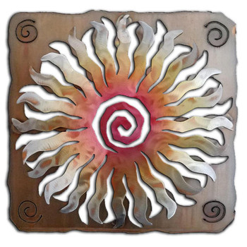 24 Point Cut Out Sunburst Sunset Swirl Metal Wall Art