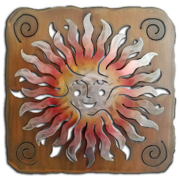 Cut Out Sprite Sun Face Sunset Swirl Metal Wall Art