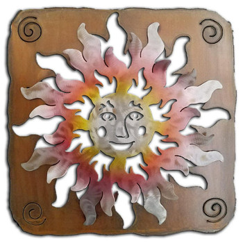Cut Out Happy Sun Face Sunset Swirl Metal Wall Art