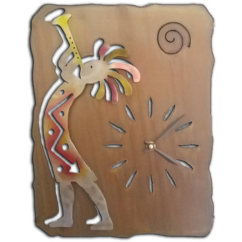 Left Facing Cut Out Trumpet Kokopelli Sunset Swirl Metal Wall Clock