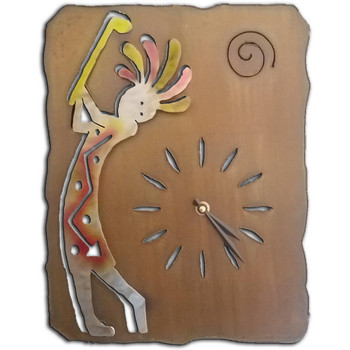 Cut Out Kokopelli Golfing Sunset Swirl Metal Wall Clock