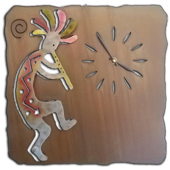 Right Facing Cut Out Kokopelli Flute Player Sunset Metal Wall Clock