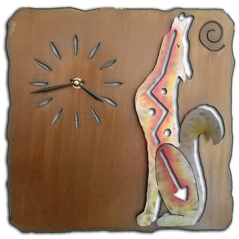 Left Facing Cut Out Coyote Sunset Swirl Metal Wall Clock