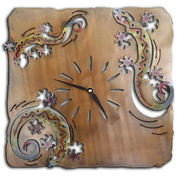 Three Cut Out Gecko Lizards Sunset Swirl Metal Wall Clock