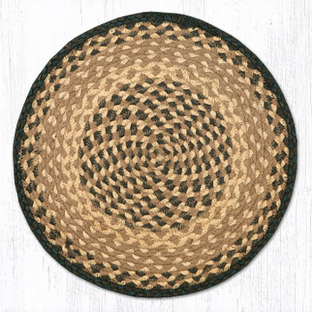 "15.5"" Chocolate Natural Braided Jute Chair Pad, Set of 2"