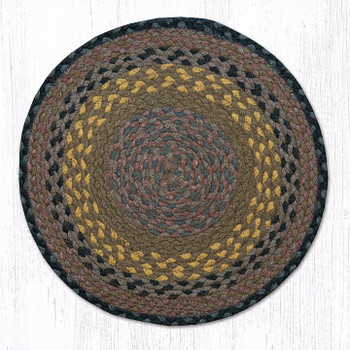 "15.5"" Brown Black Charcoal Braided Jute Chair Pad, Set of 2"