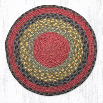 "15.5"" Burgundy Olive Charcoal Yellow Braided Jute Chair Pad, Set of 2"