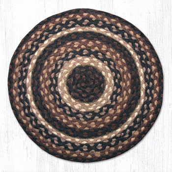 "15.5"" Mocha Frappuccino Braided Jute Chair Pad, Set of 2"